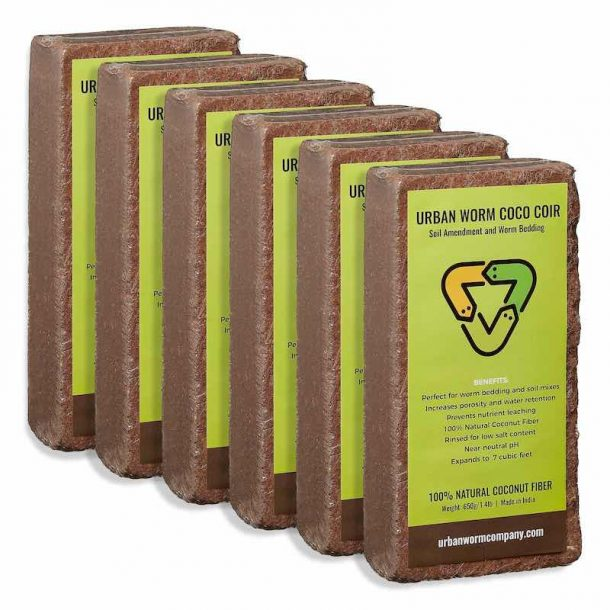 6-pack of Urban Worm Coco Coir