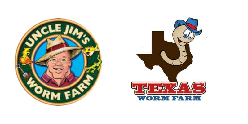 Logos of Texas Worm Farm and Uncle Jims